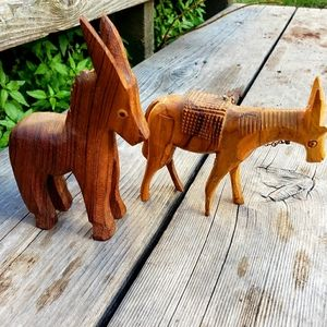 Hand carved wooden donkey figurines•Vintage decor